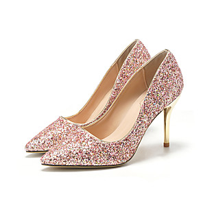 cheap Wedding Shoes-Women's Wedding Shoes Glitter Crystal Sequined Jeweled Stiletto Heel Pointed Toe Sequin Synthetics Sweet / Minimalism Spring &  Fall / Spring & Summer Pink / Party & Evening