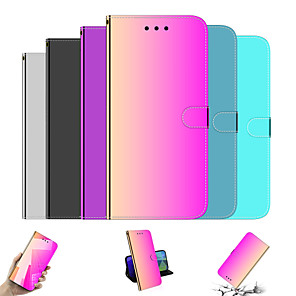 cheap iPhone Cases-Case For Apple iPhone 11 / iPhone 11 Pro / iPhone 11 Pro Max Wallet / with Stand / Mirror Full Body Cases Color Gradient / Solid Colored PU Leather