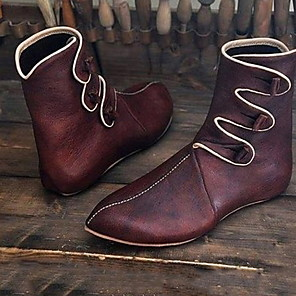 cheap Men's Boots-Men's Combat Boots PU Winter Boots Mid-Calf Boots Black / Burgundy
