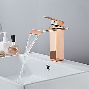cheap Bathroom Sink Faucets-Bathroom Sink Faucet - Waterfall Rose Gold Centerset Single Handle One HoleBath Taps