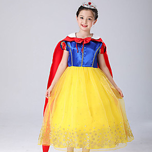 cheap Lolita Dresses-Snow White Princess Fairytale Dress Cosplay Costume Party Costume Flower Girl Dress Kid's Girls' A-Line Slip Dresses Mesh Christmas Halloween Carnival Festival / Holiday Tulle Polyster Yellow