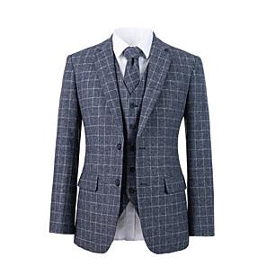cheap Custom Suits-Gray check tweed wool custom suit