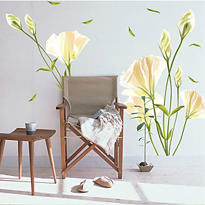 cheap Wall Stickers-Romantic white lily living room TV background wall decoration removable sticker AY9152