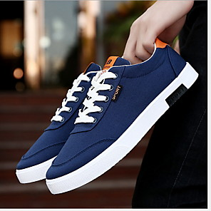 cheap Men's Sneakers-Men's Comfort Shoes Canvas Winter Sneakers Black / White / Blue