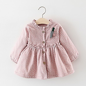 cheap Baby Girls'  Dresses-Baby Girls' Basic Solid Colored Long Sleeve Dress Blushing Pink