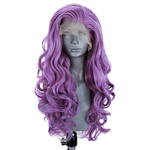 cheap Synthetic Lace Wigs-Synthetic Lace Front Wig Wavy Side Part Lace Front Wig Long Purple Synthetic Hair 18-26 inch Women's Adjustable Heat Resistant Party Purple