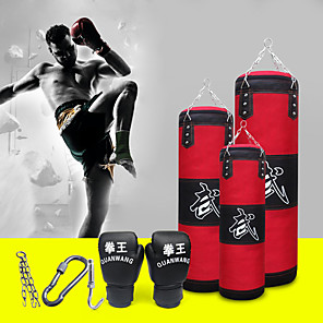cheap Flashlights & Camping Lanterns-Punching Bag Heavy Bag Kit With Hanger Boxing Gloves Removable Chain Strap Punching Bag 1039 Taekwondo Boxing Karate Martial Arts Muay Thai Adjustable Durable Empty Strength Training 5 pcs Red
