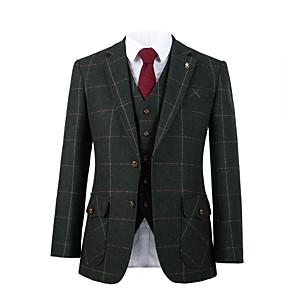 cheap Custom Tuxedo-Forest green windownpane tweed wool custom suit