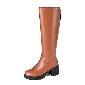 cheap Women's Boots-Women's Boots Chunky Heel Round Toe PU Knee High Boots Casual / British Fall & Winter Black / Brown / Beige
