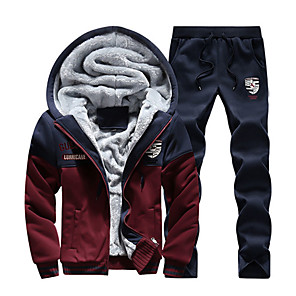 cheap Massive Clearance Sale-Men's 2-Piece Embroidered Tracksuit Track Jacket Casual Long Sleeve Front Zipper Fleece Thermal / Warm Windproof Soft Fitness Running Sportswear Hoodie Jacket and Pants Athleisure Wear Red Dark Gray