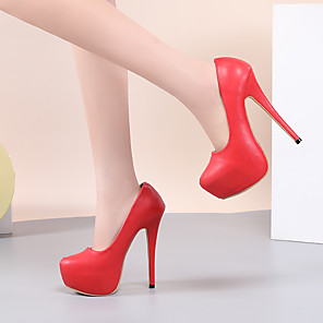 cheap Women's Heels-Women's Heels Spring &  Fall / Spring & Summer Stiletto Heel Round Toe Business Vintage Party & Evening Office & Career Solid Colored PU White / Black / Red
