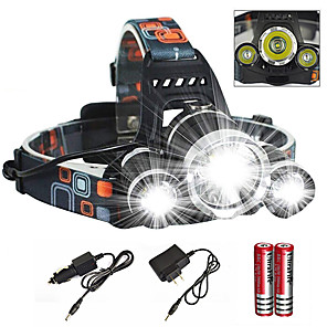 cheap Flashlights & Camping Lanterns-Headlamps Headlight Waterproof Zoomable 6000 lm LED Emitters 1 Mode with Charger with Batteries and Charger Waterproof Zoomable Rechargeable Super Light Camping / Hiking / Caving Cycling / Bike