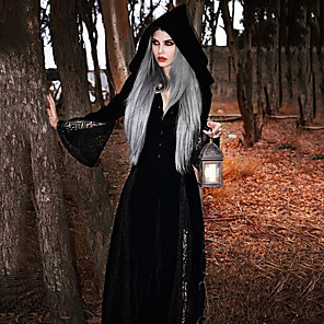 cheap Historical & Vintage Costumes-Plague Doctor Retro Vintage Gothic Steampunk Coat Masquerade Women's Costume Black Vintage Cosplay Party Halloween Long Sleeve
