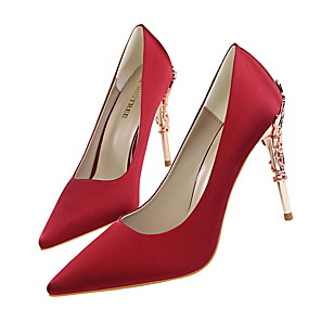 cheap Clutches & Evening Bags-Women's Wedding Shoes Stiletto Heel Pointed Toe Satin Minimalism Spring & Summer Black / Wine / White / Party & Evening