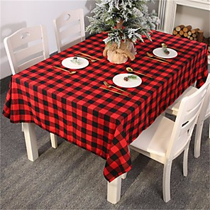 cheap Christmas Decorations-Red Black Checkered Plaid Geometric Table Accessories Decor Tablecloth Protector Tableclothes Table Covers Men Table Cloths