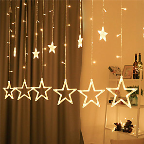 cheap LED String Lights-Star Curtain Lights 12 Stars 138 LED Star String Lights 8 Modes Stars Shaped String Lights Plug In Curtain Lights For Bedroom Wedding Party Christmas Decorations for The Home