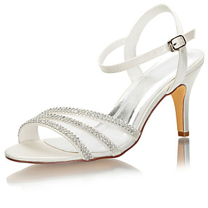cheap Wedding Shoes-Women's Wedding Shoes Stiletto Heel Open Toe Crystal / Buckle Satin Spring &  Fall / Summer Ivory / Party & Evening