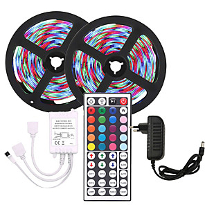 cheap Neon LED Lights-KWB 10m Flexible LED Strip Lights Light Sets RGB Tiktok Lights 600 LEDs SMD3528 8mm 1 44Keys Remote Controller / 1 X 12V 3A Power Supply Christmas / New Year's Waterproof / Cuttable / Party