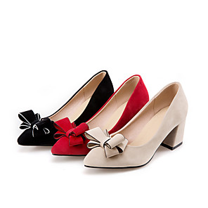 cheap Women's Heels-Women's Heels Chunky Heel Pointed Toe Bowknot Suede Classic Spring &  Fall Black / Red / Beige / Wedding / Party & Evening