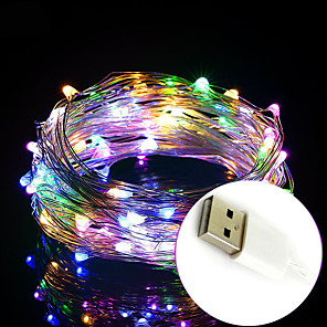 cheap LED String Lights-1pc 2m 20leds USB Powered Silver Led String Fairy Lights Christmas Garland Party Wedding Decoration Light 5V