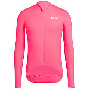 cheap Cycling Jerseys-21Grams Men's Long Sleeve Cycling Jersey Winter Spandex Polyester Black Yellow Fuchsia Bike Jersey Top Mountain Bike MTB Road Bike Cycling UV Resistant Breathable Quick Dry Sports Clothing Apparel