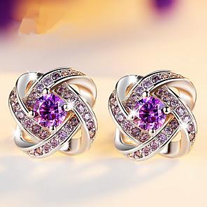 cheap Earrings-Modern Women's Earrings 2018 White and Purple Zircon Clover Stud Earrings Silvering Trendy Stainless Steel Jewelry Accessories