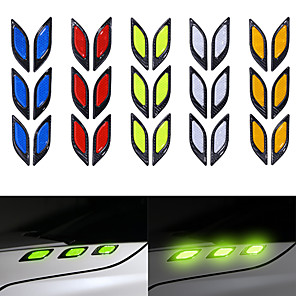 cheap Car Body Decoration & Protection-6PCS/Set Car Truck Sticker Reflective Strips Night Safety Warning Reflector Tape Anti-collision Decorative Stickers Car Styling
