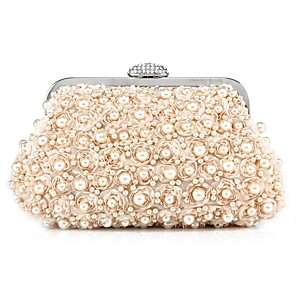 cheap Clutches & Evening Bags-Women's Lace / Pearls Polyester / Silk Evening Bag Solid Color Black / Champagne / Milky White