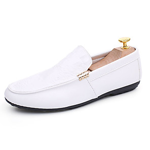 cheap Men's Slip-ons & Loafers-Men's Moccasin Fall Casual / Preppy Outdoor Loafers & Slip-Ons Walking Shoes PU Breathable White / Black / Red