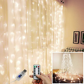 cheap LED String Lights-3*1 3*2 3*3M USB LED Curtain String Lights Flash Fairy Garland Remote Control For New Year Christmas Outdoor Wedding Home decor