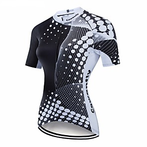 cheap Cycling Jerseys-CAWANFLY Women's Short Sleeve Cycling Jersey Black Geometic Bike Jersey Top Mountain Bike MTB Road Bike Cycling Breathable Quick Dry Back Pocket Sports Clothing Apparel / Advanced / Expert / Stretchy