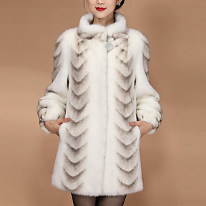 cheap Wedding Wraps-Long Sleeve Coats / Jackets / Basic Fox Fur Party / Evening / Office / Career Women's Wrap / Women's Scarves With Leopard Print / Button / Fur