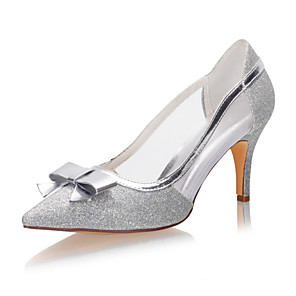 cheap Wedding Shoes-Women's Wedding Shoes Glitter Crystal Sequined Jeweled Stiletto Heel Pointed Toe Bowknot / Sequin Synthetics Spring &  Fall / Summer Silver / Party & Evening