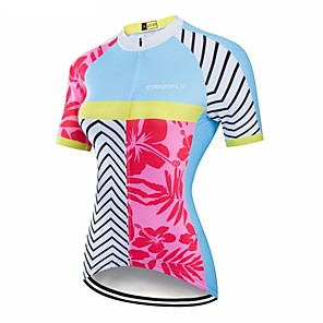 cheap Cycling Jerseys-CAWANFLY Women's Short Sleeve Cycling Jersey Red and White Geometic Bike Jersey Top Mountain Bike MTB Road Bike Cycling Breathable Quick Dry Back Pocket Sports Clothing Apparel / Advanced / Expert