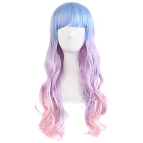 cheap Movie & TV Theme Costumes-Synthetic Wig Curly Body Wave Halloween Asymmetrical Neat Bang Wig Pink Long Ombre Pink Synthetic Hair 24 inch Women's Color Gradient Best Quality Pink