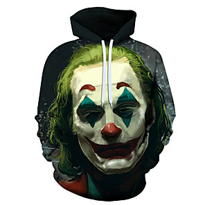 cheap Movie & TV Theme Costumes-Inspired by Burlesque Clown Joker Hoodie Polyster Fashion Hoodie For Men's