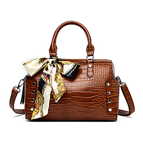 cheap Handbag & Totes-Women's Bags PU Leather Top Handle Bag Sashes / Ribbons for Going out / Birthday Black / Purple / Dark Coffee