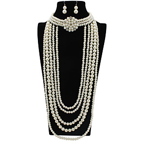 cheap Jewelry Sets-Women's Pearl Bridal Jewelry Sets Classic Flower Stylish Earrings Jewelry White For Party Festival 1 set