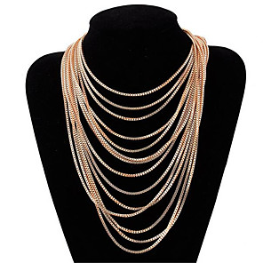 cheap Necklaces-Women's Choker Necklace Layered Necklace Tassel Fringe Precious Unique Design Fashion Gold Plated Chrome Gold 64 cm Necklace Jewelry 1pc For Holiday Street Festival / Long Necklace