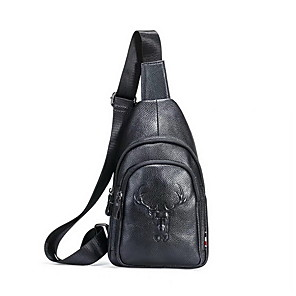 cheap Women's Boots-Men's Embossed Cowhide Sling Shoulder Bag Animal Black / Fall & Winter