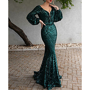 cheap Party Hats-Mermaid / Trumpet Open Back Formal Evening Dress Plunging Neck Long Sleeve Sweep / Brush Train Polyester with Sequin 2020