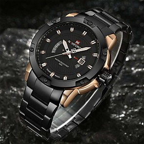 cheap Automotive Interior Accessories-NAVIFORCE Men's Sport Watch Military Watch Wrist Watch Quartz Charm Water Resistant / Waterproof Stainless Steel Black / Silver Analog - Black / Gold Black Silver / Black Two Years Battery Life