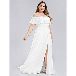 cheap Party Sashes-A-Line Plus Size White Holiday Beach Dress Off Shoulder Short Sleeve Floor Length Chiffon with Ruffles Split 2020