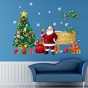 cheap Wall Stickers-Christmas Tree Santa Decorative Wall Stickers - Animal Wall Stickers Animals Living Room / Bedroom / Bathroom