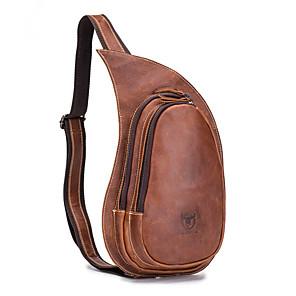 cheap Women's Boots-Men's Zipper Cowhide Sling Shoulder Bag Animal Brown