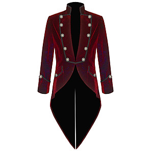 cheap Historical & Vintage Costumes-Plague Doctor Retro Vintage Steampunk Coat Masquerade Tuxedo Men's Costume Black / Red Vintage Cosplay Party Halloween Long Sleeve
