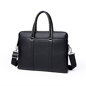 cheap Clutches & Evening Bags-Men's Cowhide Briefcase Solid Color Black / Fall & Winter