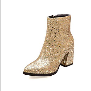 cheap Women's Boots-Women's Boots Chunky Heel Pointed Toe PU Booties / Ankle Boots Winter Gold / Silver / Green