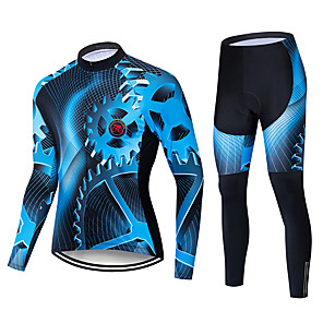 cheap Cycling Jersey & Shorts / Pants Sets-Men's Long Sleeve Cycling Jersey with Tights Winter Fleece Polyester Black / Blue Bike Padded Shorts / Chamois Clothing Suit Thermal / Warm Windproof Quick Dry Sports Solid Color Mountain Bike MTB