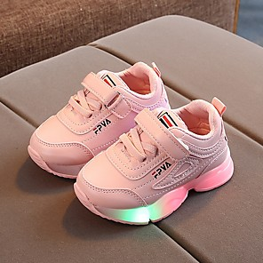 cheap Wedding Shoes-Girls' LED / Comfort / Children's Day PU Trainers / Athletic Shoes Little Kids(4-7ys) Running Shoes Luminous White / Black / Pink Fall